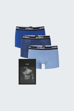 3er-Pack Shorts ? Cotton Stretch, navy/hellblau/blau gemustert