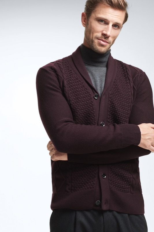 Merino-Cardigan Bent, bordeaux