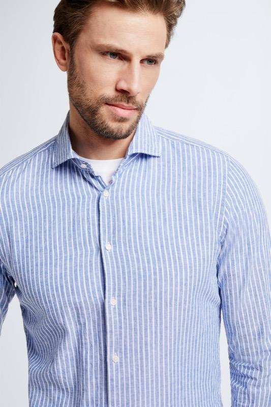 Chemise en coton et lin Sereno, bleu/blanc à rayures