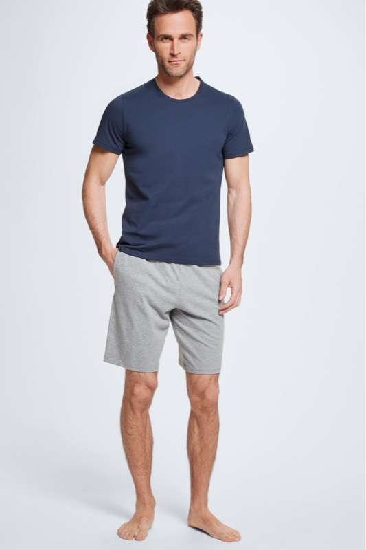 Pyjama avec t-shirt et short, navy/gris clair