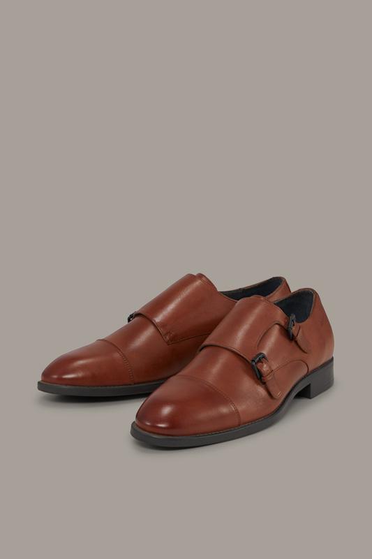 Chaussures double boucle Jones Harley, cognac