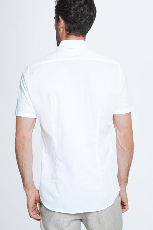 Baumwoll-Hemd Sander, weiß
