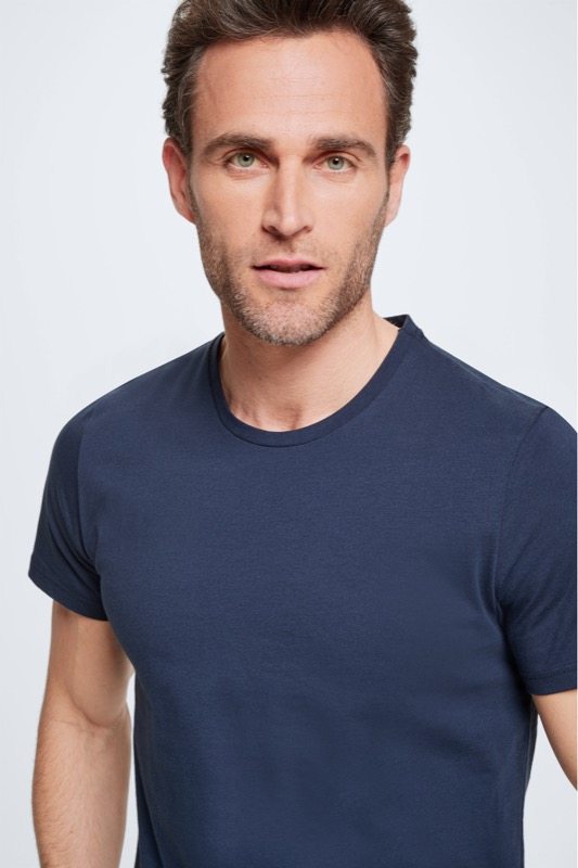 Pyjama - T-shirt en short, marineblauw/lichtgrijs