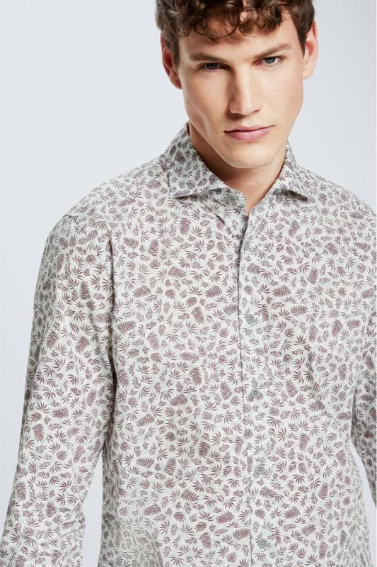 Baumwoll-Hemd Carlo, weiß/rot gemustert