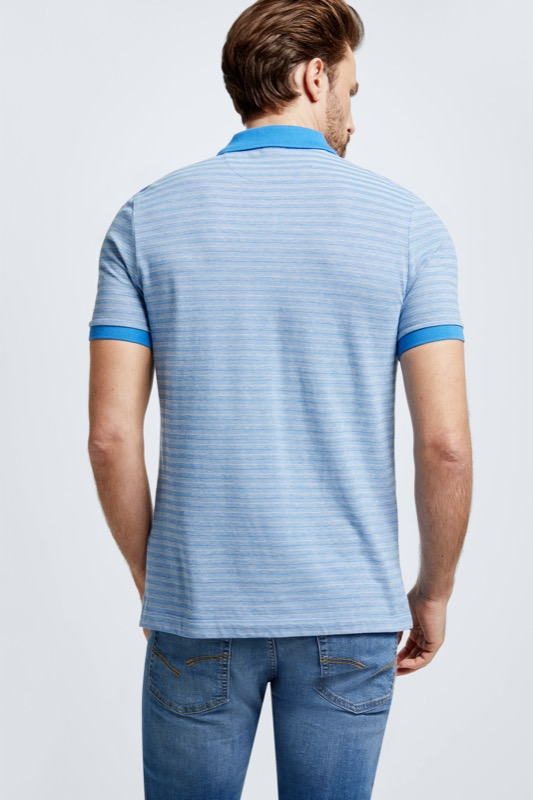 Polo-Shirt Wallace, hellblau gestreift