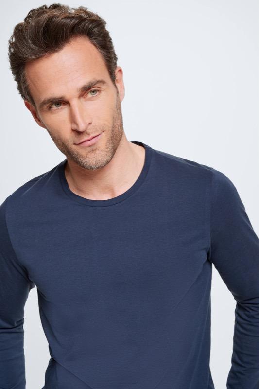 Pyjama - shirt met lange mouwen en broek, marineblauw/lichtgrijs