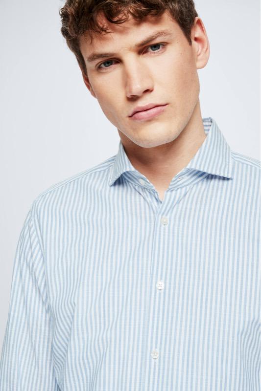 Baumwoll-Hemd Sereno, blau/weiß gestreift