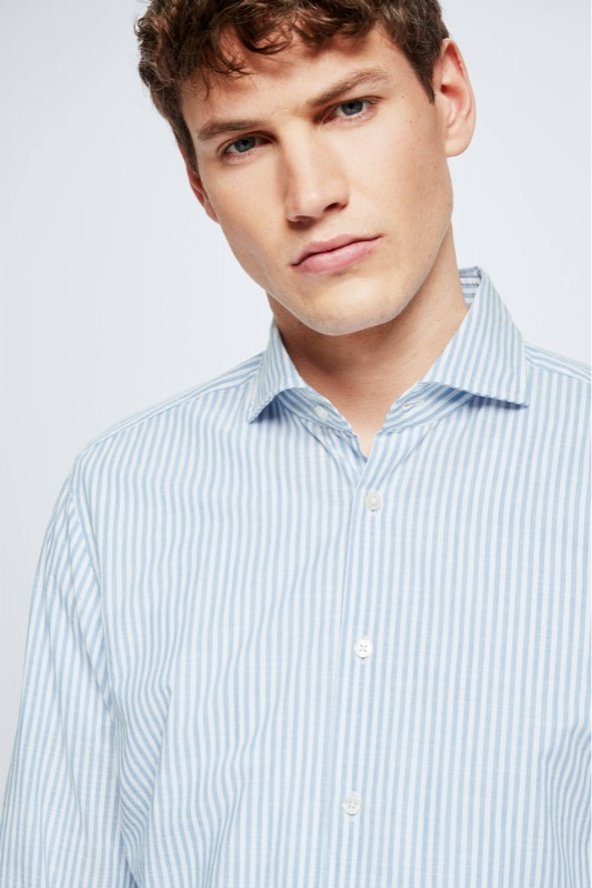Chemise en coton Sereno, bleu/blanc à rayures