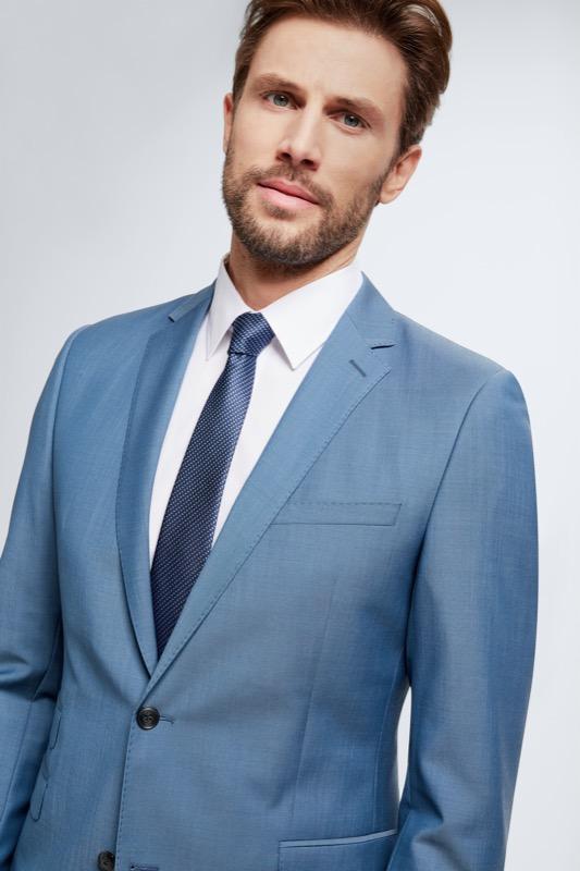 Anzug Crace-Maddor, hellblau strukturiert
