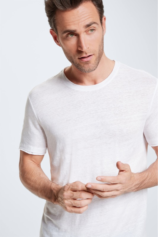 T-shirt Draven en lin, blanc