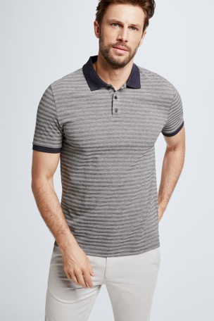 Polo-Shirt Wallace, dunkelblau gestreift