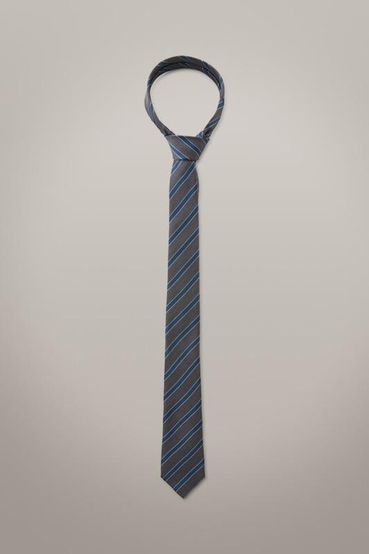Cravate en soie, gris et navy à motif
