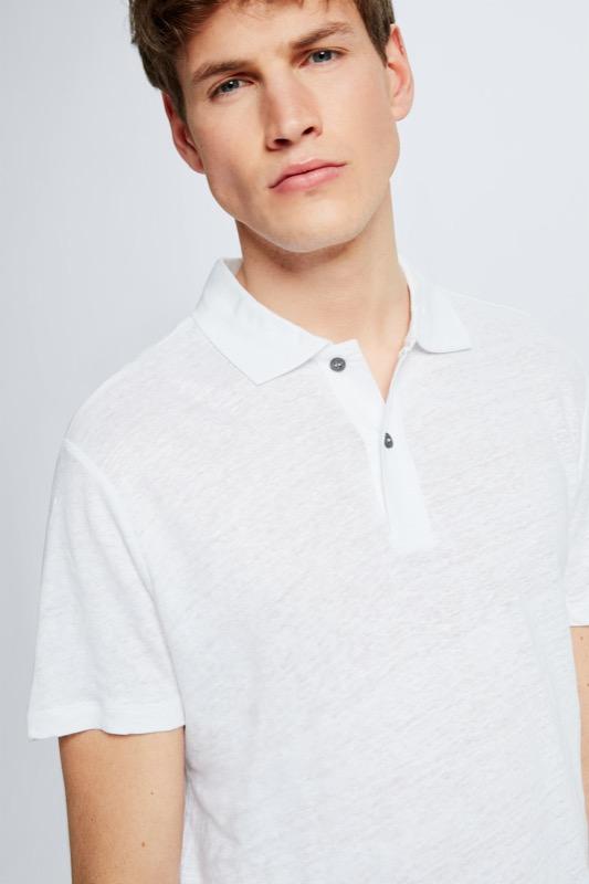 Leinen-Poloshirt Draven, weiß