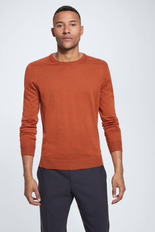 Pull-over Martin en laine mérinos, orange vif