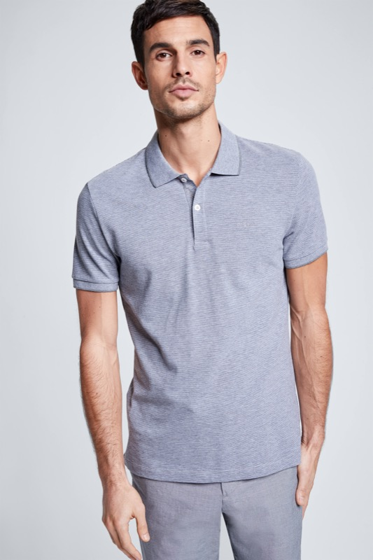 Polo Lukas, gris/gris clair à rayures