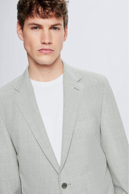 Broken Suit Sakko Acon, pastellgrau kariert
