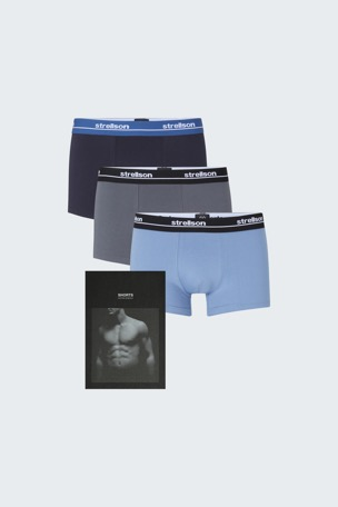 3er-Pack Shorts ? Cotton Stretch, navy/hellblau/grau