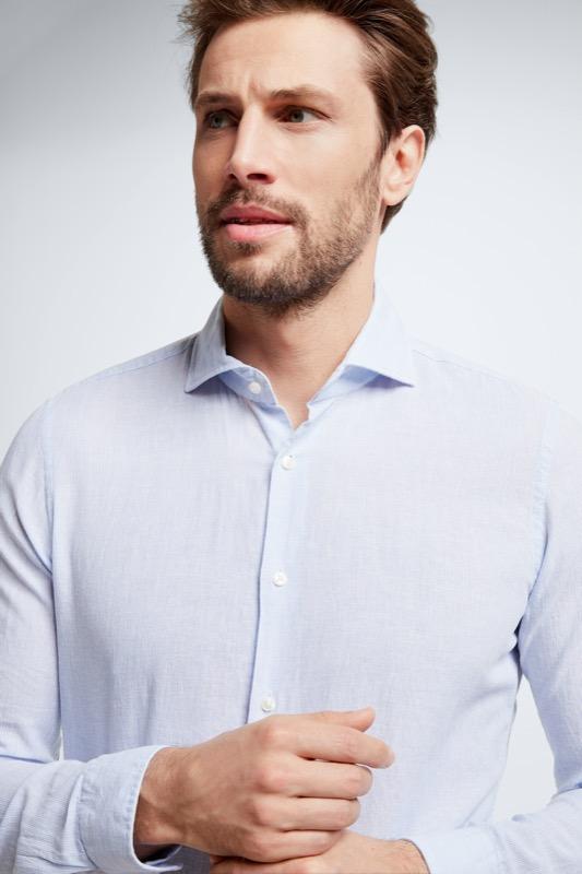 Baumwoll-Leinen-Hemd Sereno, hellblau/weiß meliert
