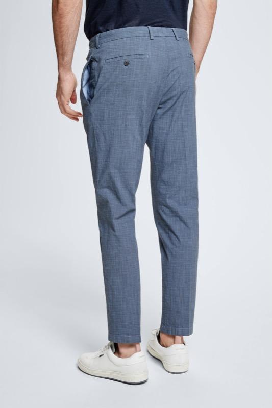 Pantalon Kynd en coton et lin, bleu