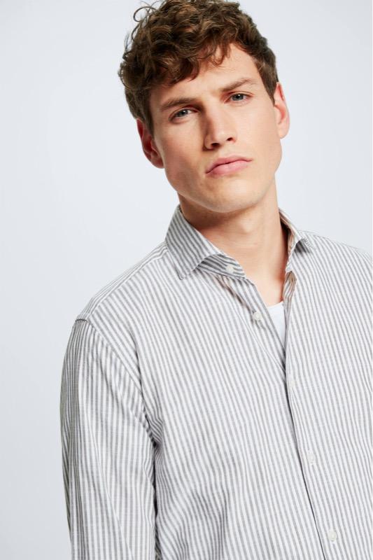 Sereno overhemd van katoen, wit/bruin gestreept